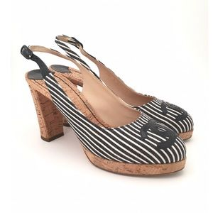 CHANEL | 08C K G25911 Striped Slingback Pumps